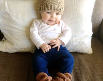 Knit Baby Pom Pom Hat | Plum Purple and Brown Knit Hat | Baby Girl | Baby Boy