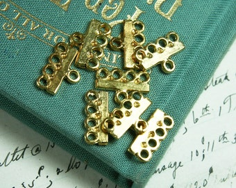Vintage 1970s Gold Plated Brass Earring Jewelry Findings - 8 PCS.