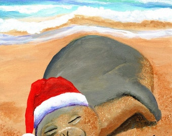 Mele Kalikimaka Hawaiian Monk Seal Printable DIY Christmas card 5x7 pdf from Kauai Hawaii beach ocean santa hat holidays maui oahu