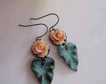 Patina Leaf Earrings, Peach Flower, Bohemian Earrings, Botanical, Garden Jewelry, Vintage style, Gardendiva