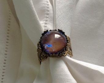 oO SUNSET Oo purple fire opal brass ring