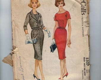1960s Vintage Sewing Pattern McCalls 5507 Misses Slim Sheath Wiggle Dress and Cropped Jacket Suit Size 12 Bust 32 60s