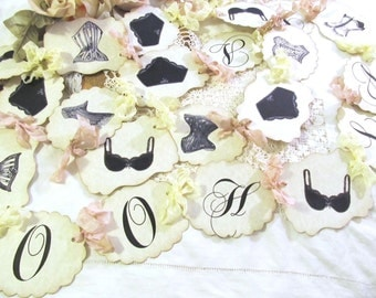 Lingerie Party Bridal Shower Banner w/ribbons - Ooh La La - Shower Garland - Bras Panties Corsets Mix - Small Medium Large - Bachelorette