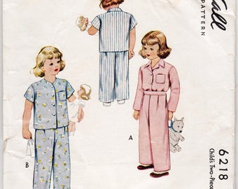 Vintage Sewing Pattern Children's Two Piece Pajamas 1940's McCall 6218 Size 3