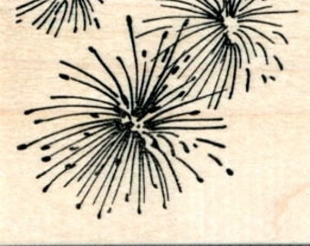 Fireworks Rubber Stamp, 4th of July, Guy Fawkes, Diwali H31508 Wood Mounted