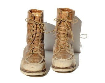 Vintage Men's Caramel Tan Leather Work Boots / size 12