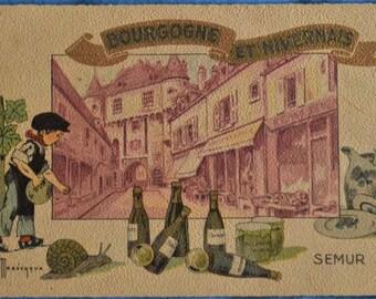 Postcard Semur Bourgogne Burgundy Nivernais Artist Signed Gaston Marechaux Antique Divided Back