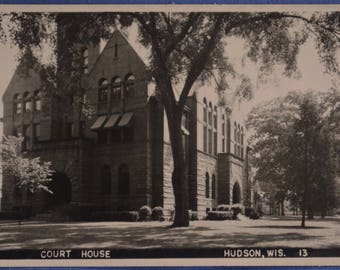RPPC Court House Hudson Wisconsin 1930 to 1950 Unused Black and White Postcard