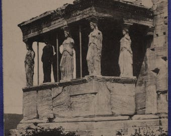 Athens Greece Caryatide Porch Black and White Early 20th Century Postcard