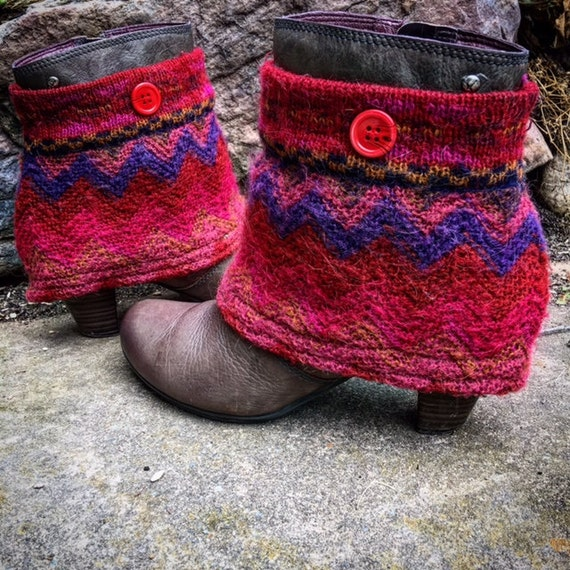 Bohemian Tiger Mini Boot Sweaters, Wool & Mohair Blend, Boot Covers, Boot Wraps, Boot Accessories ~ Ready to Ship