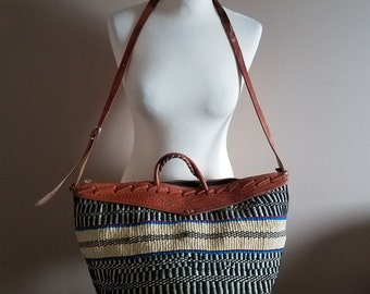 Extra Large Woven Fiber and Tooled Leather Sisal Tote Bag