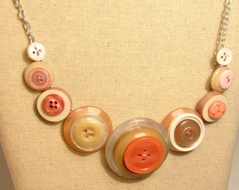 Pink & Cream Button Necklace