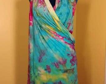 Tiffany Blue Raspberry Pareo Sarong Shawl 42×70 Hand Dyed Rayon Jersey Wrap