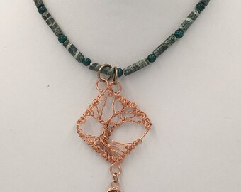 Copper Wire Tree Pendant on Seraphinite Necklace