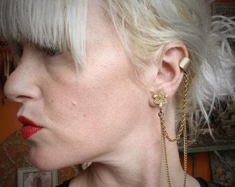 Ear Cuff // Post to Cuff Earring // Clip On Earring // Gold Chain Earrings // Boho Jewelry // Gypsy Jewelry // LoveItShop // LoveItJewelry