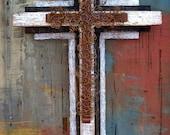Distressed Wood Wall Cross.Wood Cross.Wooden Cross.Rusty Cross.Father's Day Gift.Cross for Man.Masculine Cross.Large Wall Cross