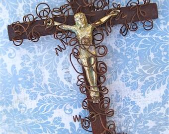 Catholic Cross - Crucifix - Catholic Gift - Small Wall Crucifix - Jesus Corpus Cross - Hanging Crucifix - Rustic Crucifix - Patina Crucifix