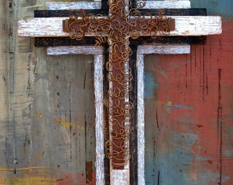 Distressed Wood Wall Cross / Wooden Cross / Rusty Cross / Father's Day Gift / Cross for Man / Masculine Cross / Large Wall Cross