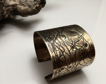 Wide Brass Cuff Cactus Flower Brass Bracelet Embossed Imprinted Antiqued Bras Tiny Flower