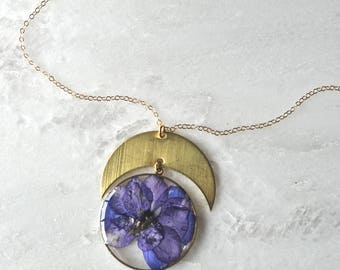 Pressed Purple Larkspur Necklace Pressed Flower Jewelry Botanical 14k Gold Fill Chain