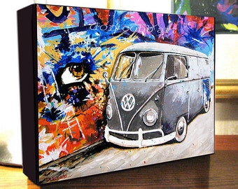 "Volkswagen Hippie Bus Graffiti Art ""Eye Love VW Buses"" (Two Sizes) Canvas Prints On Gallery Wrap Canvas"