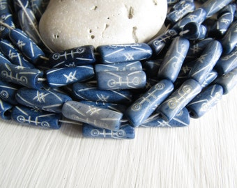 blue  tube bone beads, with a  carved designs,  natural Irregular look,  boho exotic beads 19 to 24mm long  (10 beads) 6db3-6