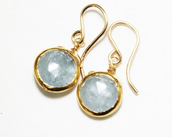 Aquamarine Earrings Blue Aquamarine Earrings Real Aquamarine Jewelry Semiprecious Aquamarine Earring 18k Gold Bezel BZ-E-105-Aqua/g