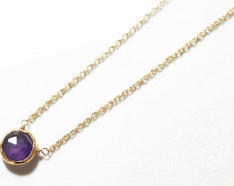 Purple Amethyst Necklace Gold Bezel Necklace Genuine Amethyst Necklace February Birthstone Semiprecious Amethyst Jewelry BZ-P-105-Am/g