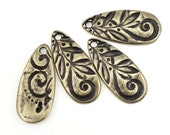 Antique Brass Charms Brass Pendant TierraCast JARDIN TEARDROP Charms Bronze Charms for Bohemian Jewelry Making Swirls and Vines Plants P1384