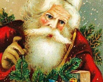 Vintage Santa Christmas Reproduction Fabric Crazy Quilt Block Free Shipping World Wide (S3