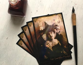 "SET OF 5 POSTCARDS - ""Say Something Beautiful"" 4 x 6 postcards, post cards, fantasy, witch, enchantress, dark, vintage, dark angel, woman"