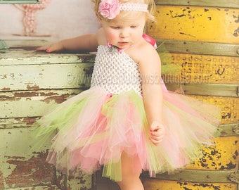 Pastel Baby Tutu Dress ,Girls Tutu Dress,Easter Tutu Dress,Baby Girl Tutu Dress,Pink and Green Tutu Outfit,