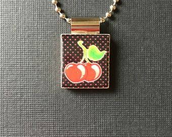 Cherry Scrabble Tile Pendant, recycled and handmade scrabble tile jewelry, cherry necklace, black and red cherry necklace, nature necklace