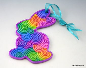 Rainbow Easter Bunny Ornament in Pastel Fimo Clay Filigree