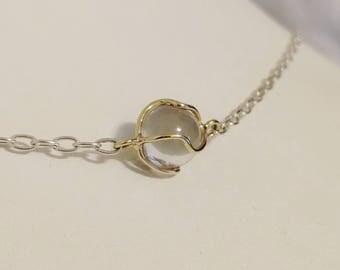 Pools of Light Necklace, Sterling Silver & 14K Gold Cage, Natural Clear Quartz, Caged Quartz sphere