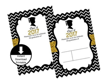 Graduation Boy Invitation Black White Gold Glitter 2017 Blank Fill In Template DIY Digital Printable PNG Jpeg Instant Download Set of 2