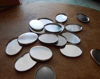 6 pc vintage silver oval settings bezel 18 x 25 mm - old new stock vintage jewelry supplies