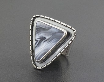 ON SALE---Striped Black and White Agate Ring, black and white, agate ring, black white silver, size 7.5 ring, boho ring, bohemian ring