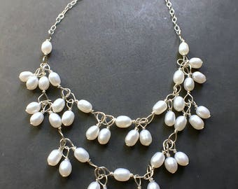Pearl Statement Necklace, Pearl Bib Necklace, Pearl Necklace, June Birthstone, Bridal Jewelry
