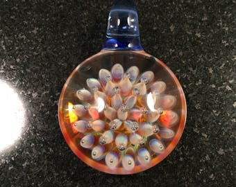 Glass Air trap Implosion Pendant Bead --- Majestic Glass Arts ---