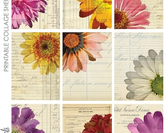 Floral Fun ATC ACEO Project Life Journaling Card Backgrounds Collage Sheet