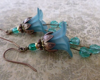 Flower Earrings with Teal Lucite Flowers, Czech Glass, and Antique Copper