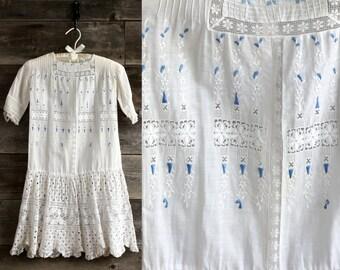 SALE 1900s Kids Dress Children's White Gown