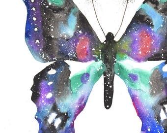 Butterfly ORIGINAL Watercolor, Galaxy Spirit Totem Animal 9X12