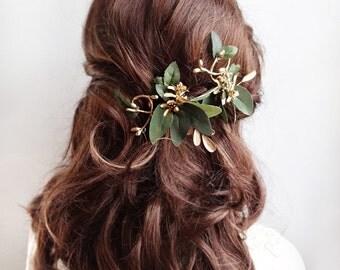 leaf hair clips, gold hair vine, bridal headpiece, bridal hairpiece, floral hair clip, leaf hair piece, green and gold wedding hair piece