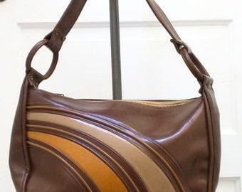 Brown Retro Stripe Shoulder Bag Purse