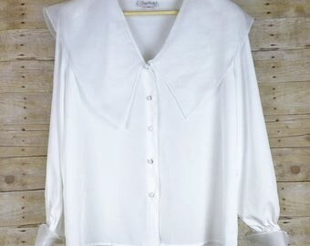 Vintage White Wide Sheer Collar Blouse Top 14 XL