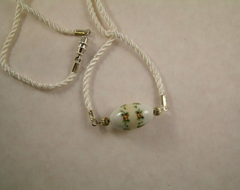 White Cord and Bead Necklace