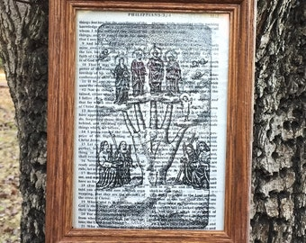 Hand of Glory | FOLK FILTH bible page art | framed collage religious icon sacred art goth gothic printed upcycled wall art | MADE byLB