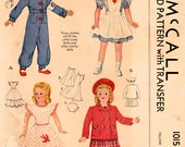 1940s McCall 1015 Vintage Sewing Pattern Doll Clothes, Doll Wardrobe, Little Lady Doll 15 Inch Doll